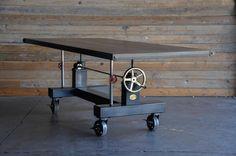 Vintage Industrial Crank Table by VintageIndustrial on Etsy https://www.etsy.com/listing/186132157/vintage-industrial-crank-table