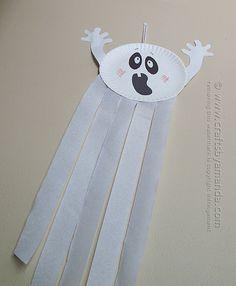 Faça você mesmo ideias criativas para o Halloween - fantasma de prato