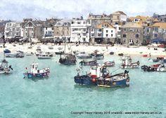 St Ives Bay,Cornwall - A4 Fine Art  print via Trevor Harvey Art. Click on the…
