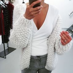 chunky knit sweaters, white sweaters, cardigans, hand knit Mohair Sweater, Cable Knit Sweaters, White Sweaters, Knit Cardigan, Kiro By Kim, New Style Tops, Knit Wrap, Knit Fashion, Cardigans For Women