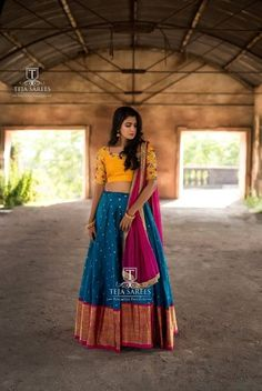 Looking for Bridal Lehenga for your wedding ? Dulhaniyaa curated the list of Best Bridal Wear Store with variety of Bridal Lehenga with their prices Half Saree Designs, Choli Designs, Lehenga Designs, Saree Blouse Designs, Half Saree Lehenga, Indian Lehenga, Indian Beauty Saree, Lehenga Dupatta, Bollywood Lehenga