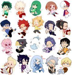 Chibi Boku no Hero Academia ^v^ Dibujos Anime Chibi, Chibi Anime, Kawaii Anime, Sasuke Chibi, Anime Naruto, My Hero Academia Tsuyu, My Hero Academia Shouto, Hero Academia Characters, Anime Stickers