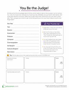 Free Number Worksheets For Kindergarten Word Movie Analysis Film Analysis Worksheet  Photography  Pinterest  Alphabet Worksheets Kindergarten with Solving Multi Step Inequalities Worksheet Be A Movie Critic Art Worksheetslearning  Decomposition Reactions Worksheet Pdf