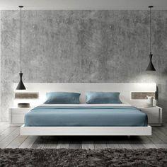 J&M Amora Contemporary White Lacquer & Natural Wood Veneer King Size Bedroom Set 5Pcs order online
