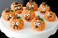 Rice Krispie Treat Pumpkins   #kitchenthyme #pumpkintreats #halloweentreats #halloweenfood #halloweensnacks #pumpkinricekrispietreats #pumpkindessert