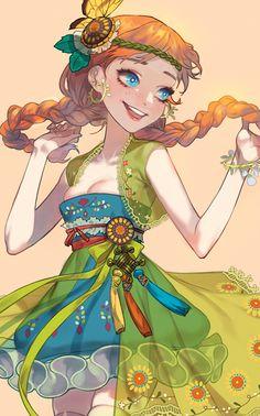 Anna in summer Hans Frozen, Frozen 2, Frozen Movie, Disney Frozen, Frozen Anime, Disney Princess Art, Disney Fan Art, Disney Love, Disney Magic