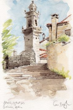 Eglise San Pedro de Muros, Galice Aquarelle, graphite papier Canson Montval 210g grain fin