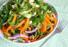 For a light, refreshing salad recipe try this healthy blend of shaved asparagus and carrots with white beans and arugula.