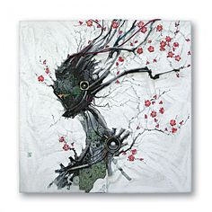 Korean artist Kim Yong Soo whose artwork, at first glance, takes on the somewhat familiar appearance of traditional Japanese paintings of cherry tree bossoms. Closer inspection reveals a textured assemblage of semi-conductors, speaker wires, and acrylic cement, used to form the delicate tree branches, flowers, and humanoid figures.