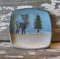 Reindeer Spoon Rest, cookie dish, soap dish,  Prep dish  Tapas  Stoneware  by DragonflyArts, $11.00