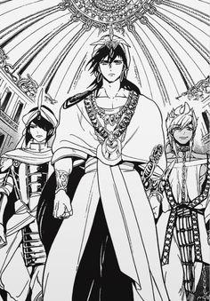 Sinbad, Spartos and Sharrkan Magi Sinbad, Magi 3, Manga Magi, Anime Magi, Anime Love, Anime Guys, Magi Kingdom Of Magic, Black And White Graffiti, Animated Man