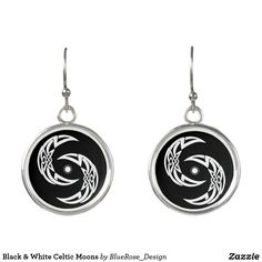 Black & White Celtic Moons Earrings Moon Earrings, Christmas Card Holders, Colorful Backgrounds, Celtic, Perfume, Black And White, Silver, Jewelry, Design