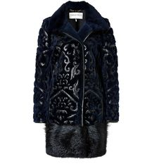 EMILIO PUCCI Fur Coat with Leather Applique in Black/Blue found on Polyvore