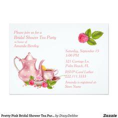 Pretty Pink Bridal Shower Tea Party Invitation