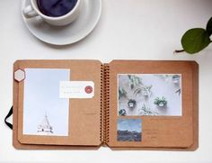 Scrapbooking made simple, notebook made of brown recycled paper with three photos, on a want to make your own travel diary? inspirational ideas in 60 photos Bujo Planner, Bullet Journal, Diy Art Projects, Journal Design, Smash Book, Travelers Notebook, Mini Albums, Create Yourself, Crafts