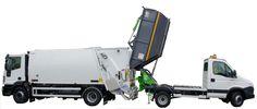 KVC śmieciarka satelitarna z możliwością przeładunku zebranych odpadów do większych śmieciarek.
