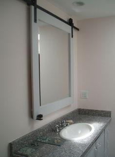 Sliding Barn Door Hardware Used On A Bathroom Mirror For Hidden Medicine Cabinet Storage