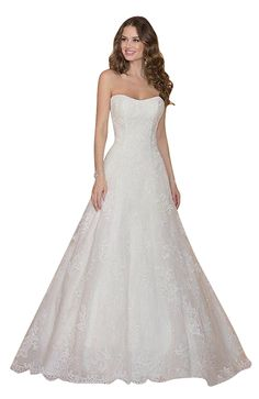 0e7c60e484b Dream Women s Strapless A-Line Lace Wedding Dress Bridal Gown at Amazon  Women s Clothing store