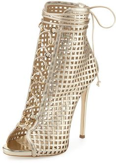 Giuseppe Zanotti Coline Caged 110mm Bootie, Gold