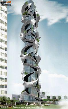 Unusual feature wraps around this tower. Unusual Buildings, Interesting Buildings, Amazing Buildings, Modern Buildings, Futuristic Architecture, Beautiful Architecture, Art And Architecture, Future Buildings, Modern Architects