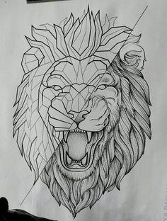 Lion Head Tattoos, Leo Tattoos, Animal Tattoos, Body Art Tattoos, Sleeve Tattoos, Geometric Lion Tattoo, Geometric Drawing, Tattoo Sketches, Tattoo Drawings
