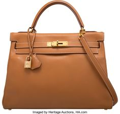 "Hermes 32cm Gold Gulliver Leather Retourne Kelly Bag with GoldHardware. C Square, 1999. Very Good Condition. 12.5"" Width..."