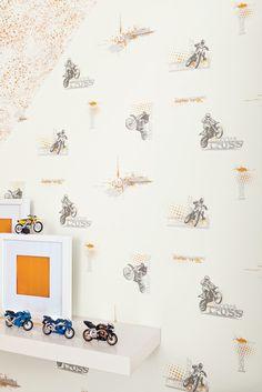 Collection : ONLY BOYS / Motocross, zoom #Papierpeint #decoration #interieur #enfant #kids #boys #Caselio www.caselio.fr