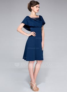 A-Line/Princess Cowl Neck Knee-Length Tulle Jersey Mother of the Bride Dress With Lace Beading Sequins Cascading Ruffles (008042325)