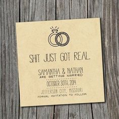 'Sh*t just got real' - The funniest wedding invitations wording