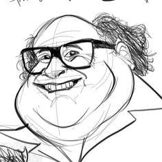 Danny Devito Caricature Danny Devito, Caricature, Artwork, Work Of Art, Auguste Rodin Artwork, Caricatures, Artworks, Illustrators, Caricature Drawing