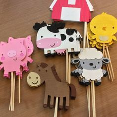 Cupcake toppers for farm animals, farm / farm themed party - . - Cupcake toppers for farm animals, farm / farm theme party – - Party Animals, Farm Animal Party, Farm Animal Birthday, Barnyard Party, Farm Birthday, Farm Party, 2nd Birthday Parties, Birthday Kids, Kids Animals