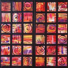 33e348b4b7b7f1 Mosaic Abstract Painting black red wall art A123 Original Contemporary Art  by artist KSAVERA canvas mid