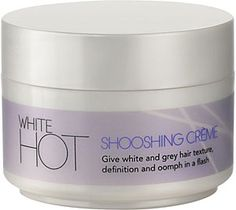 White Hot Shooshing Crème - tease, lift and define, for weightless volume and oomph in a flash. Silver Grey Hair, White Hair, Grey Hair Inspiration, Curly Hair Styles, Natural Hair Styles, Corte Y Color, Platinum Hair, Going Gray, Great Hair