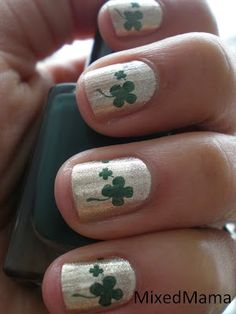 St. Patricks Day Nails using Funky Fingers Down to Earth and Fresh Paints Spruce Street. #fingernailart