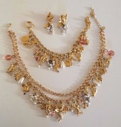 Kirks-Folly-Midsummer-Night-039-s-Dream-dragonfly-angel-pearls-bib-necklace-set