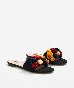 Pom Pom Slide Sandals