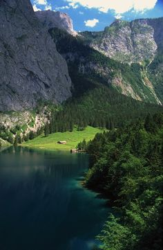 Oh wow, it's my house!!! Well, the one I dream of having. - Mountain Lake, The Alps, Switzerland