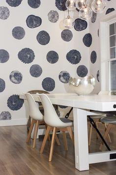 Custom stump wallpaper + white furniture. Interior Design by Vanillawood.