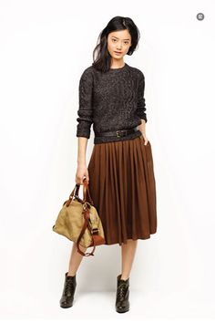 madewell - pleated skirt made less fussy w/ comfy sweater and slouchy bag