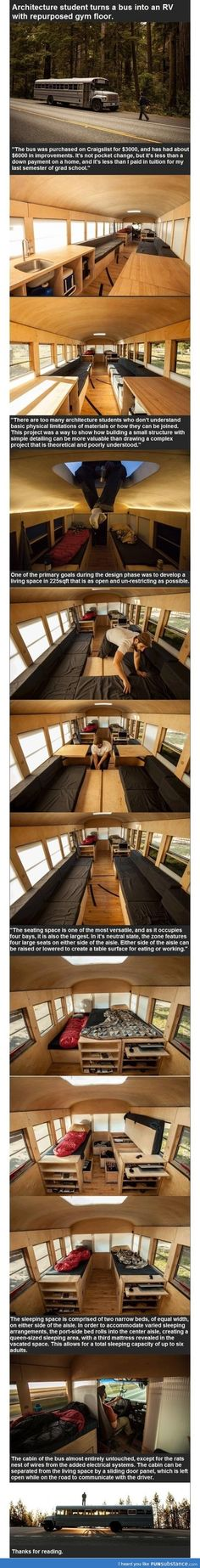 Architecture student turns a bus into an RV with re-purposed gym floor. FunSubstance.com