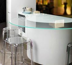 Curved Glass Breakfast Bar designed by Candi Kitchens