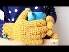 Guantes a Crochet (con dedos) - YouTube