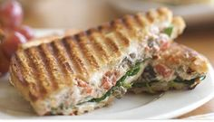Andrew's Spinach and Mushroom Panini made with goat cheese