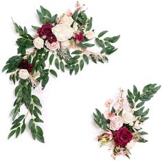 Ling's moment Burgundy and Dusty Rose Artificial Flower Arrangement for Wedding Ceremony Sign Floral Decoration - Pack of 2