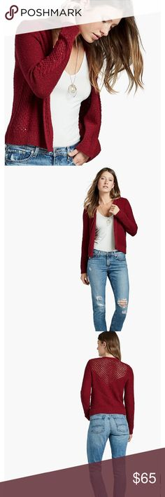 """Lucky Brand Open Stitch Cardigan Lucky Brand Open Stitch Cardigan cardigan is made to hit you at the waist. With an open front and open stitch panels, this cardigan makes layering an absolute breeze 80% cotton 20% linen Length: 23"""" Chest: 18"""" Sleeve Length: 25"""" Lucky Brand Sweaters Cardigans"""