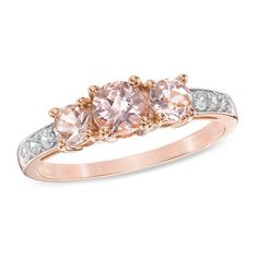 5.0mm Morganite and 1/10 CT. T.W. Diamond Three Stone Engagement Ring in 10K Rose Gold