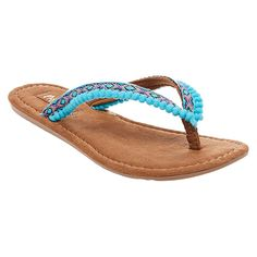 Women's Mad Love Alice Pom Pom Strap Detail Thong Sandals - Turquoise 10