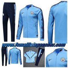 e0644e992ac Magasin Nike Survetement Homme - Veste Manchester City Bleu Noir 2018 2019  Thailande