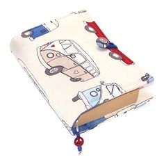 Fabric Book Cover CAMPERVAN CREAM by WhimsyWooDesigns on Etsy, £17.00