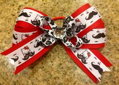 Hello Kitty Mustache Boutique Hair Bow Spirit Wear MTM school colors on Etsy, $7.00